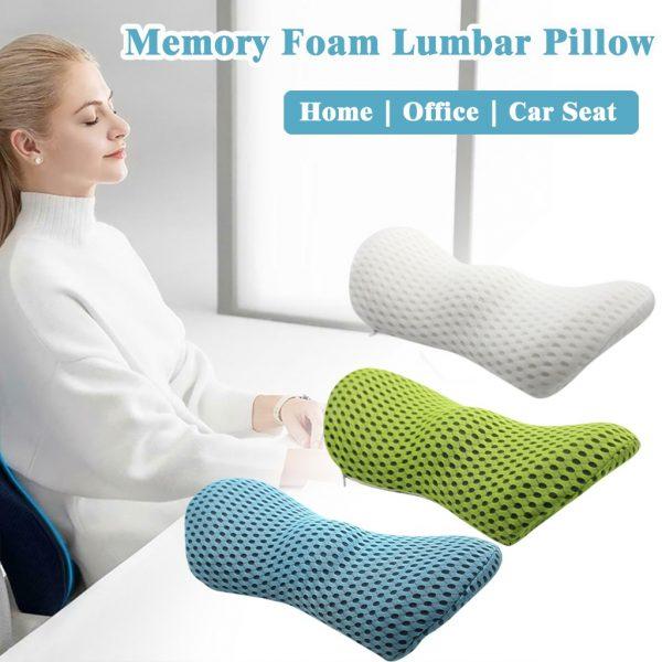 Lower Back Memory Foam Lumbar Support Cushion small portable