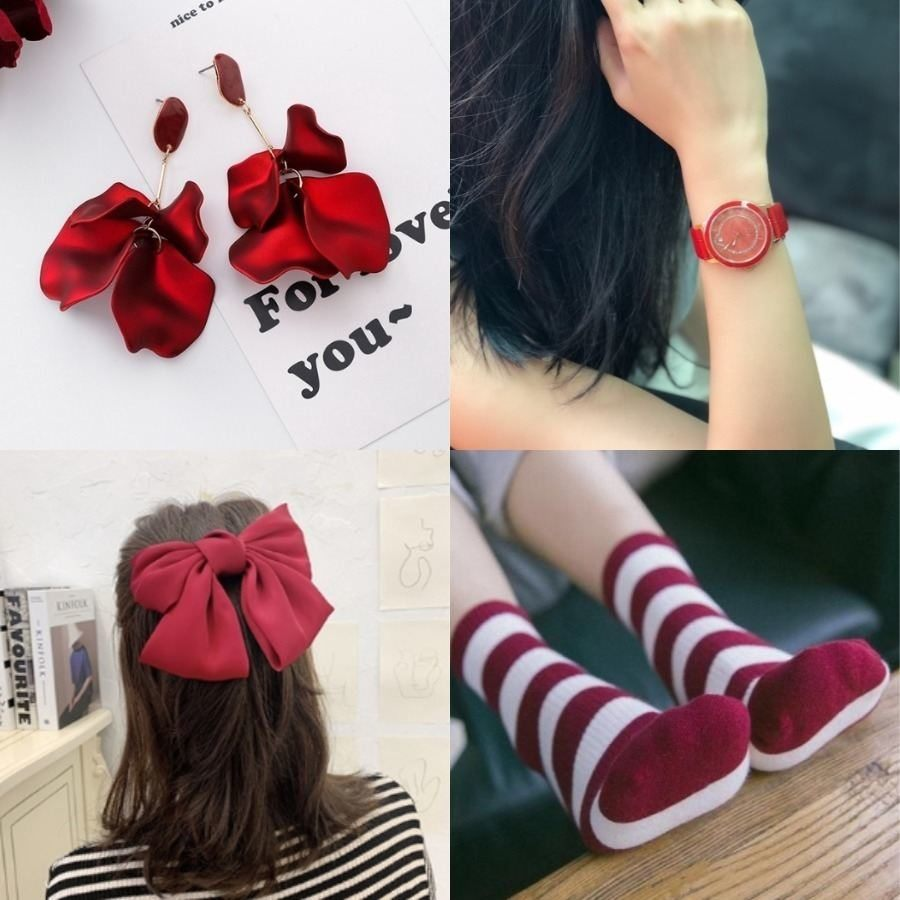 red petal earrings red fashion watch red hair bow red and white socks singapore national day outfit