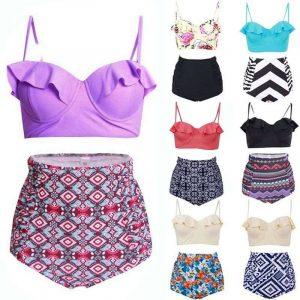 ruffled high waist bikini plus size swimwear singapore