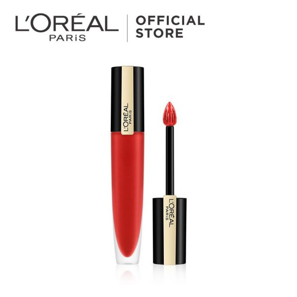 long lasting lipstick l'oreal paris rouge signature matte ink red