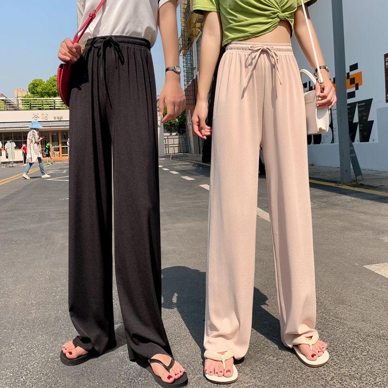 Silk Wide-Leg Long Pants