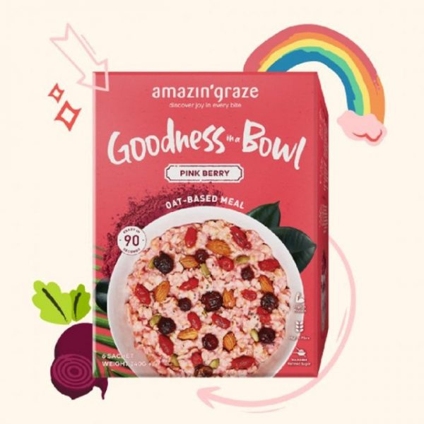 healthy snack singapore low calories amazin' graze pink berry instant oatmeal goodness bowl