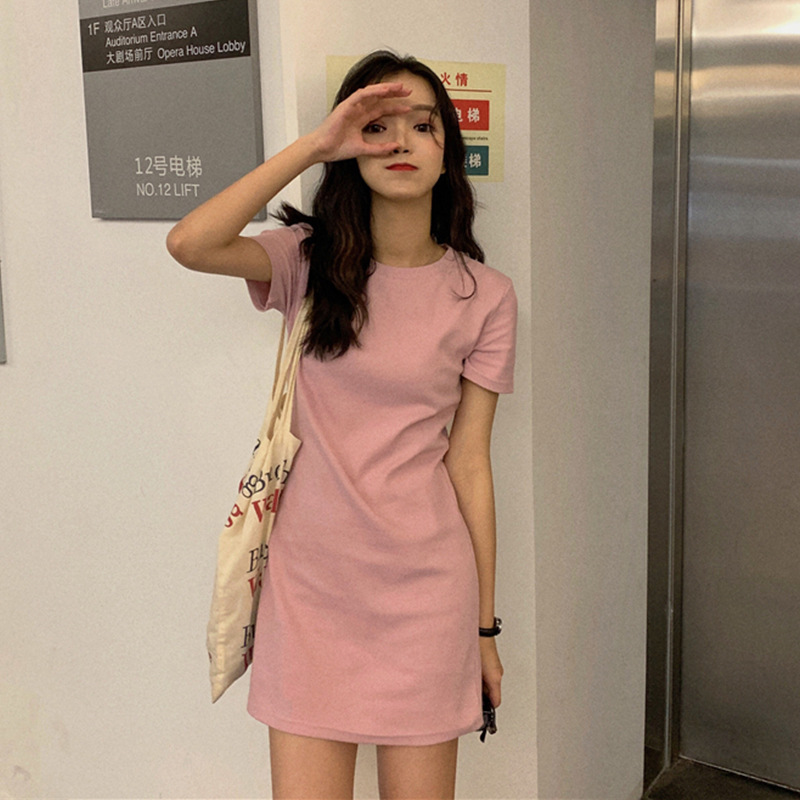 mid-length solid color dress