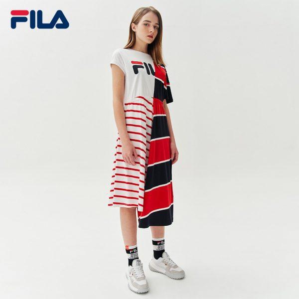 FILA products fashion Maison MIHARA YASUHIRO Women's Colour Blocks Cut-off Shoulder Cotton Dress With Asymmetric Hem