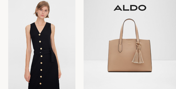 international women's day minimalist dress and bag