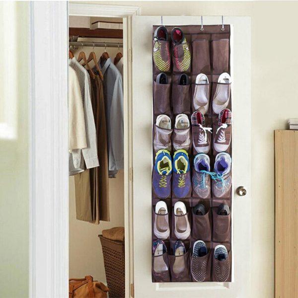 shoe storage behind the door overhanging bombshelter