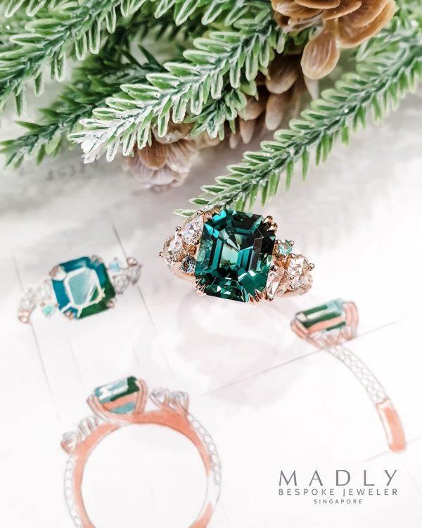 design engagement ring singapore bespoke emerald rose gold ring madly gems