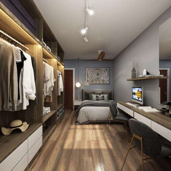 open concept walk-in wardrobe idea clothes arrangement master bedroom