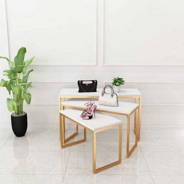 gold clothing display table set elegant accessories corner in the walk-in wardrobe hdb