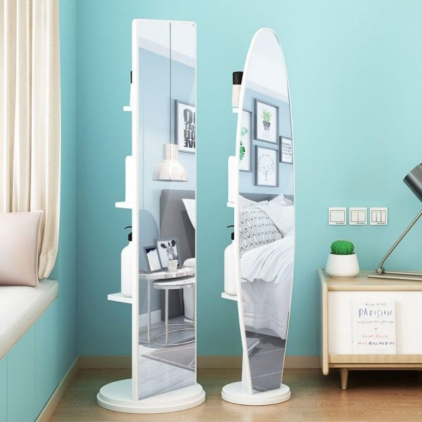rotating full length mirror for walk-in wardrobe with storage