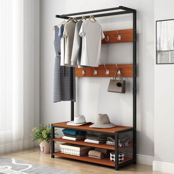 multi-functional clothes rack black metal wooden shelves storage