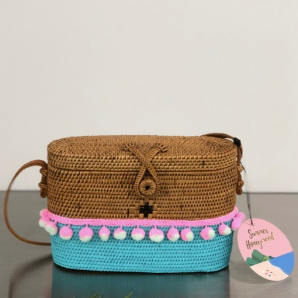 korean bag brands summer honeymood rattan loaf bag mint ice cream notag