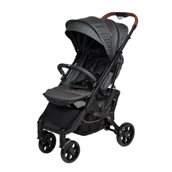 black baby stroller with leather handle