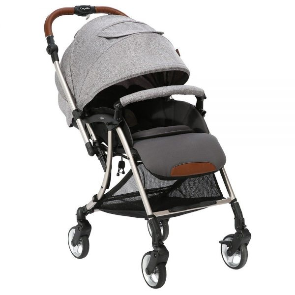 grey baby stroller with canopy and brown handle