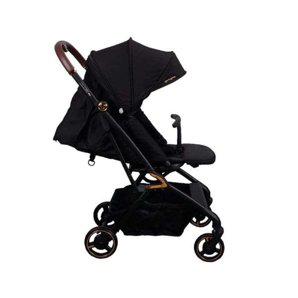 full black baby stroller with brown handle and canopy
