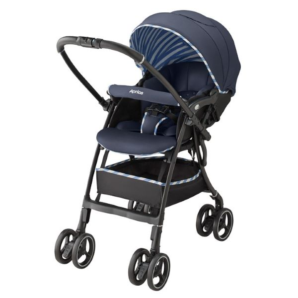 blue baby stroller with canopy parent facing