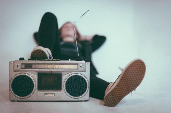 listening to radio lying down enjoy