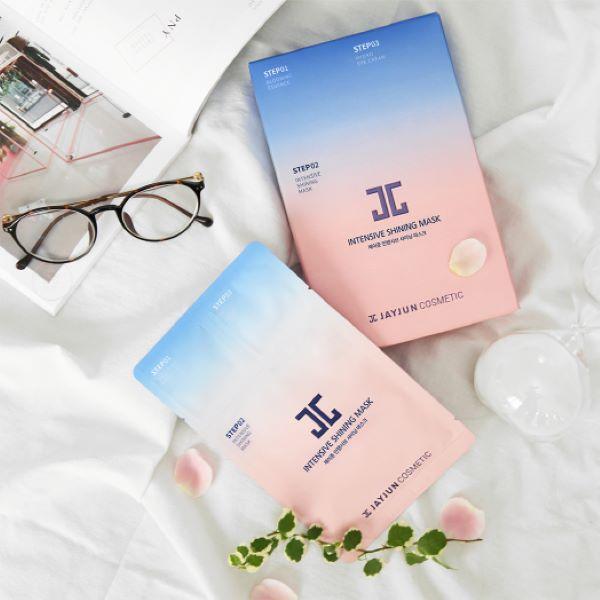flat lay of blue and pink jayjun intensive shining mask