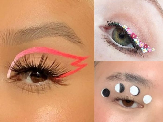 how to draw graphic eyeliner moon phase ombre flower negative space