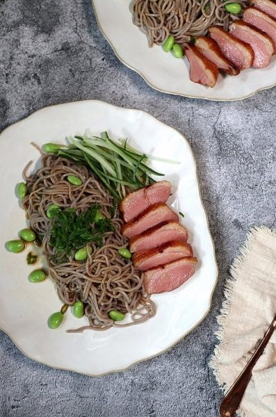 easy 3-course home-cooked meal smoked duck soba sald appetiser