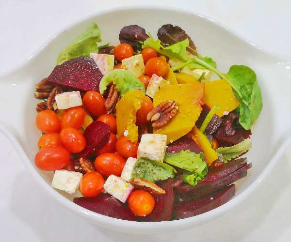 easy 3-course home-cooked meal pumpkin and beetroot salad feta cheese appetiser