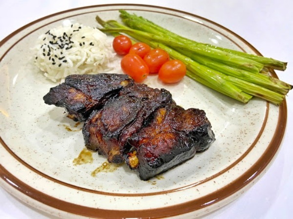 easy 3-course home-cooked meal recipe ideas japanese-style honey sake pork ribs asparagus air fryer
