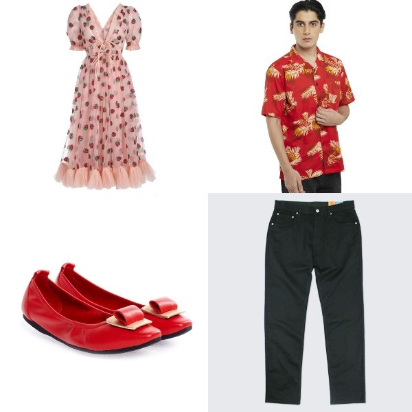 food theme ndp outfit strawberry dress red flats pazzion tropical hawaiian shirt denim jeans