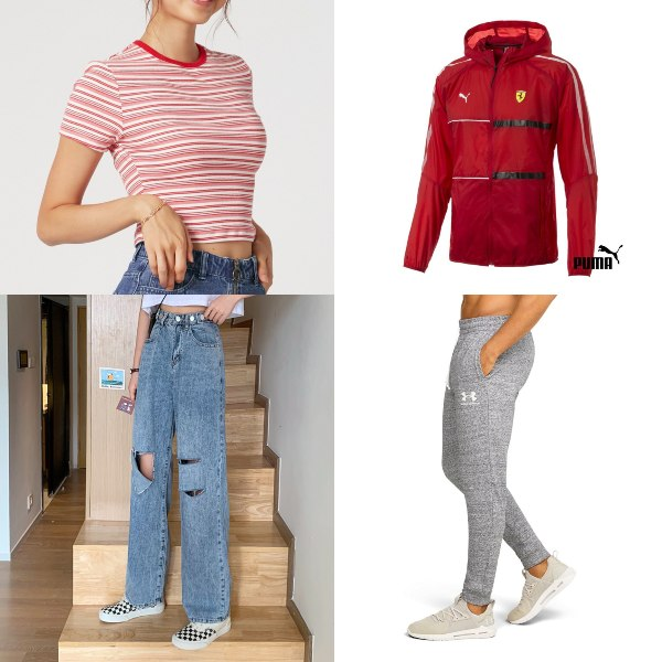 red and white outfit national day clothes trendy youthful crop top ripped jeans puma hoodie joggers