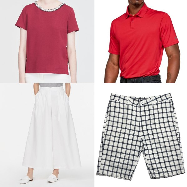 red and white outfit national day clothes blouse polo shirt bermudas culottes