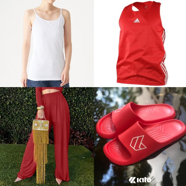 causal red and white outfit ndp muji camisole red wide legged pants tank top flip flops sandals