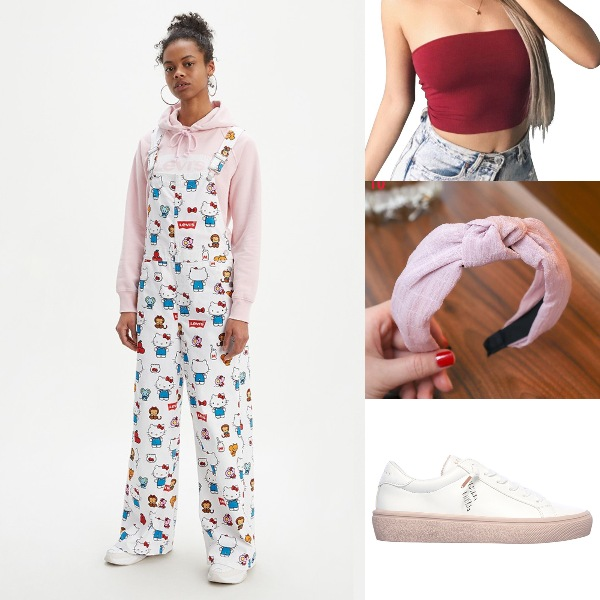 summer outfit for women cute hello kitty baggy overalls levis tube top skechers shoes