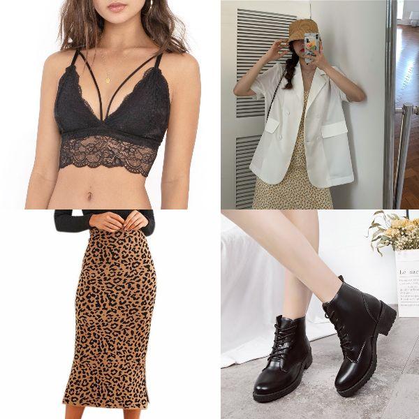 summer outfit for women fashion sexy animal prints leopard skirt bralette blazer