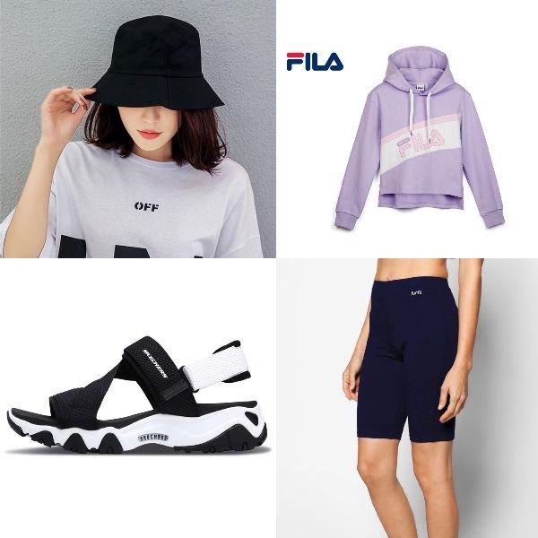 summer outfit for women fashion athleisure bike shorts fila hoodie skechers dlite sandals