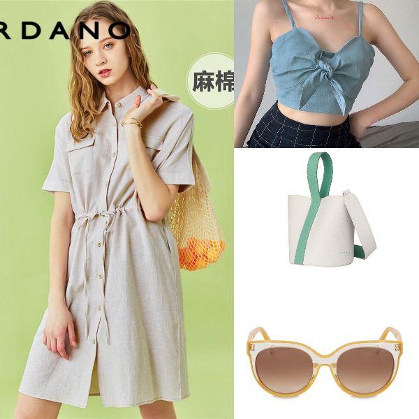 summer outfit for women fashion chic linen dress denim cropped top marhen j bucket bag furla shades