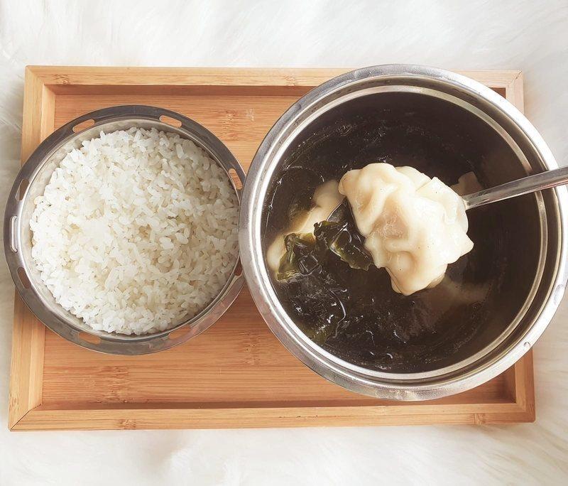 korean seaweed soup with gyoza and rice