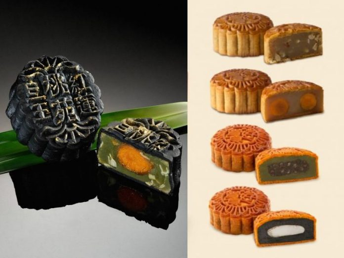 peach garden changhosek baked traditional mooncake charcoal multi flavours