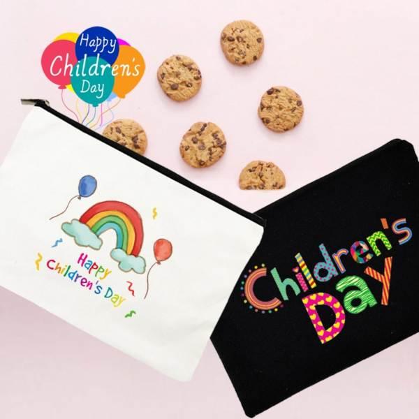 children's day canvas pouch white black