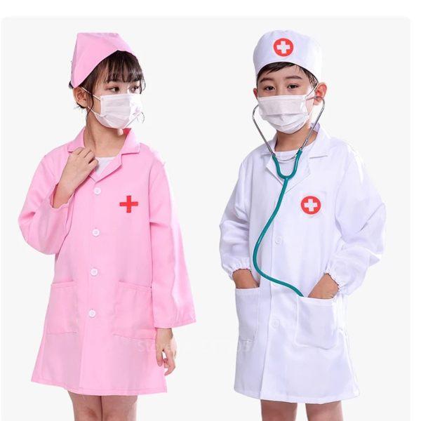 kids doctor nurse costume pink white