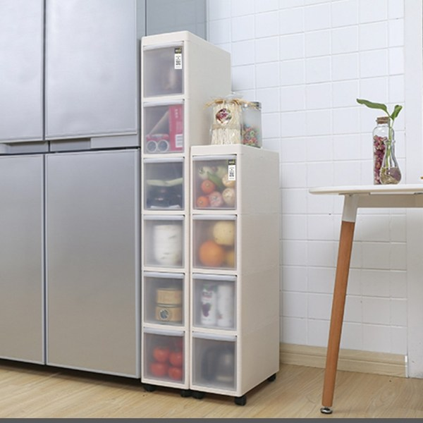 how to organise kitchen with slim cabinets slot between fridge and kitchen counter