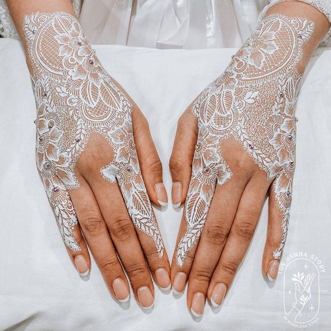 white veil design deepavali henna