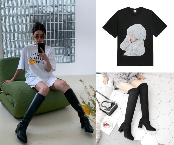 korean oversized shirt fashion model park sora stylenanda high knee boots adlv
