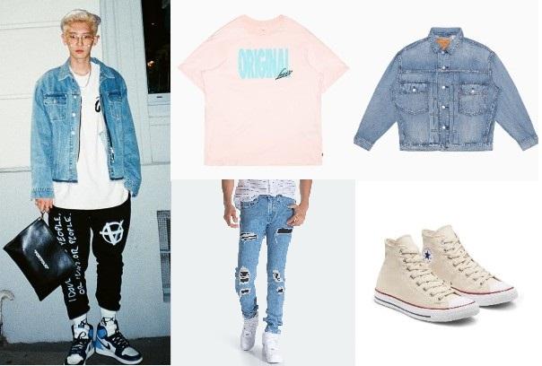 korean oversized shirt exo park chanyeol denim jacket ripped jeans