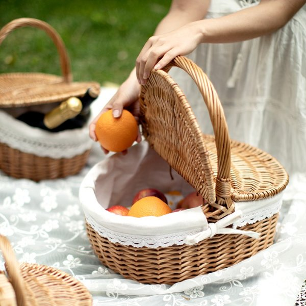 what to bring for picnic basket rattan fruits