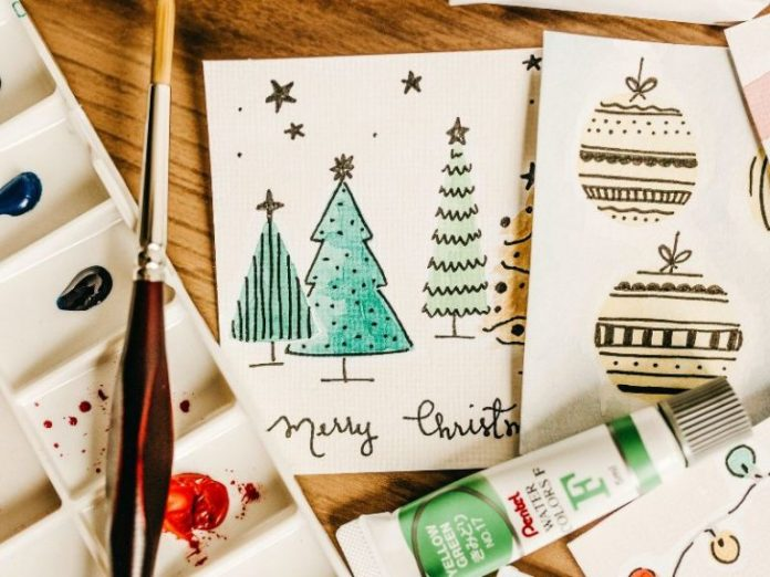 christmas card ideas for kids art and craft paint brush