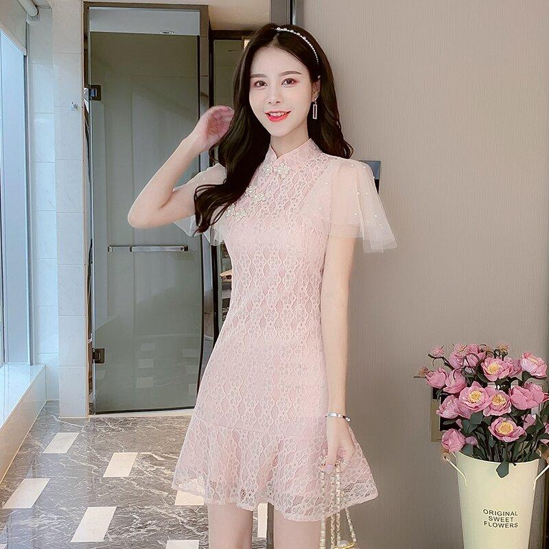 Fishtail lace cheongsam dress