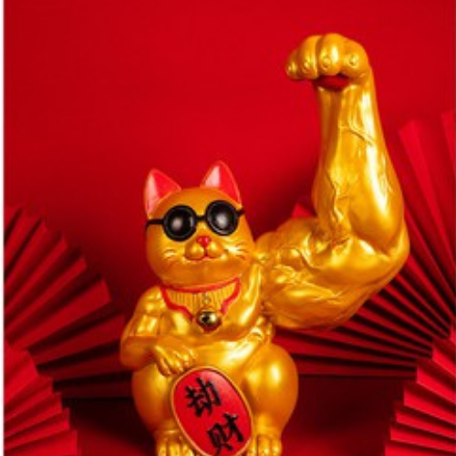 CNY decorations muscular lucky cat