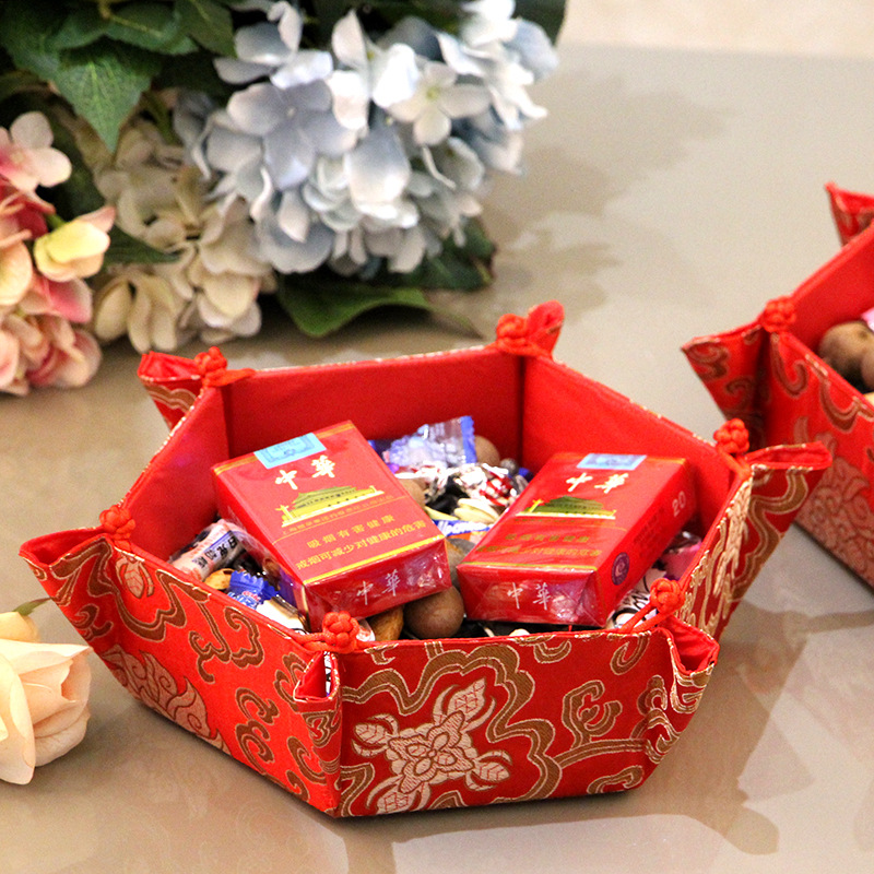 CNY decorations hexagon candy basket