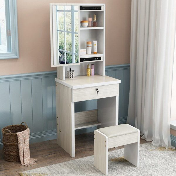 small vanity table with stool built in storage shelves cupboard drawer