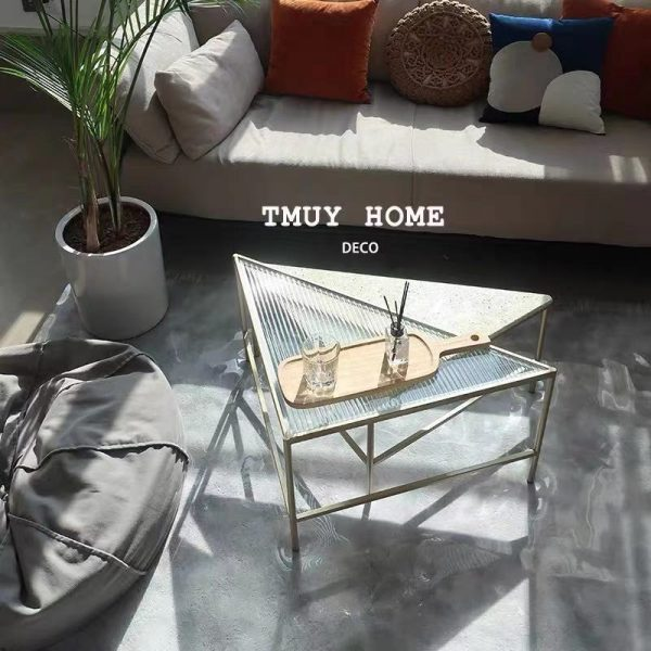 side table coffee table luxurious glass quartz triangle design
