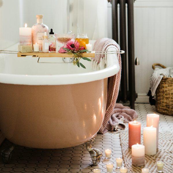 bathtub bathroom candles bath bombs